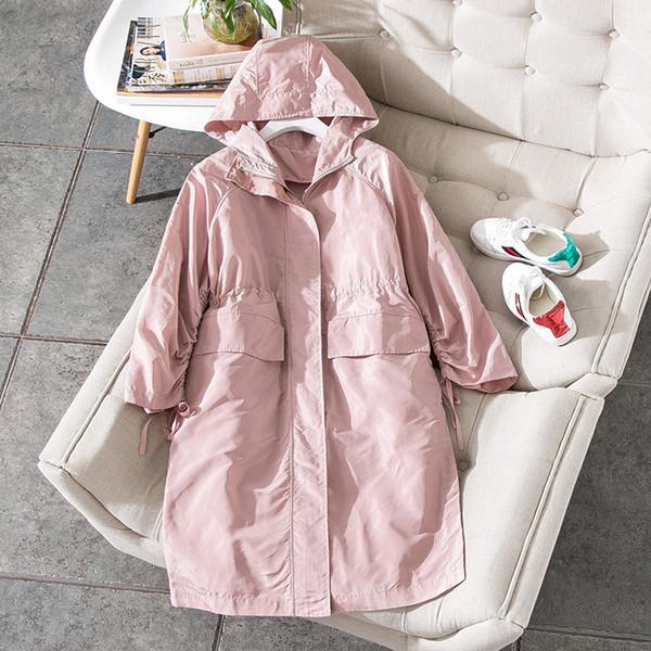 Nuevo 2018 mujeres de la moda de primavera muchachas lindas de color rosa delgado gabardina manga acanalada ajustar la cintura rebordear a media pierna cortavientos negro