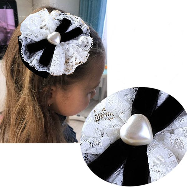 Large White Heart-shaped bead Bow For Girl Kids Cute Pearls Hair Bow With Alligator Hair Clips Beads Hairgrip Accessories