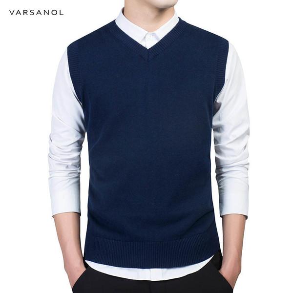Varsanol 2018 nouveaux hommes chandails O-cou automne hiver mode marque vêtements mince hommes pull 100% coton tricoté pull gilet