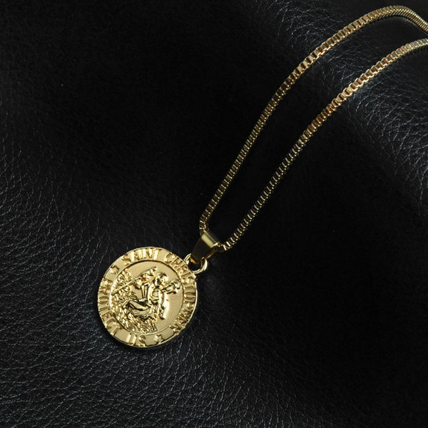 Saint Christopher Protect Us Surfing Necklace Coin Traveller Necklace Silver Gold Plated Chain for Women Men Fashion Jewelry