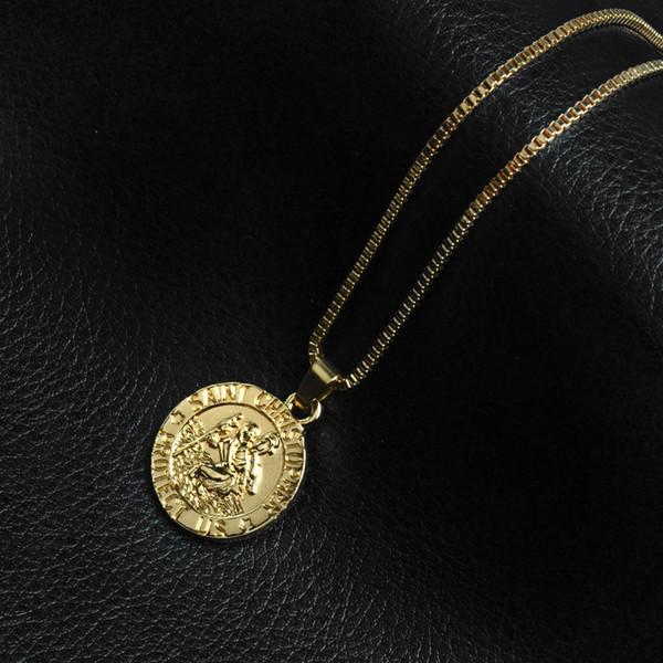 Saint Christopher Protégez-nous Surf Collier Coin Travailleur Collier Argent Plaqué Or Chaîne pour Femmes Hommes Mode Bijoux