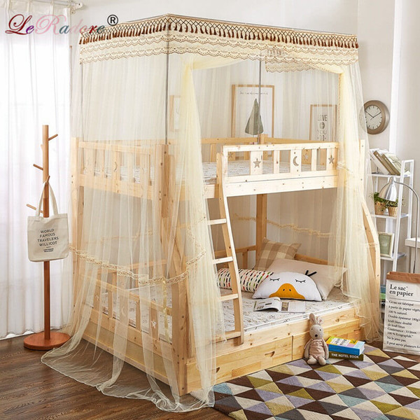 LeRadore Luxury Mosquito Nets for Children Double Bunk Lace Bunk Insect Nets for Bed One Openning Moustiquaires pour enfant