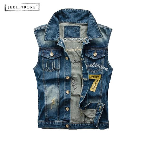 Bordado Jeelinbore Compre Carta Chaleco Jeans Hombres Denim YAqUCwg