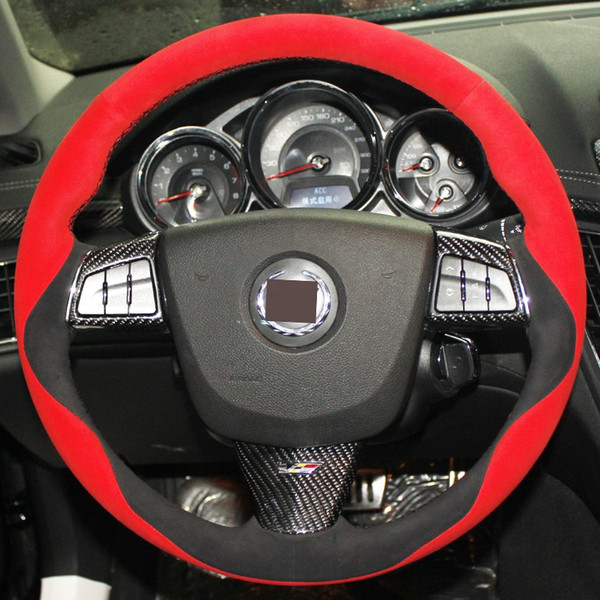 Black Red Suede DIY Hand-stitched Car Steering Wheel Cover for Cadillac ATS 2013-2015 CTS 2014-2016