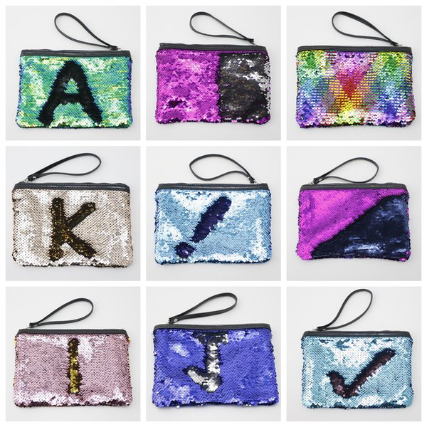 9colors Mermaid Sequin Cosmetic Bag Glitter Makeup case Purse Bling Bags Storage Organizer Glitter Bling rope Travel Handbag FFA571 200pcs