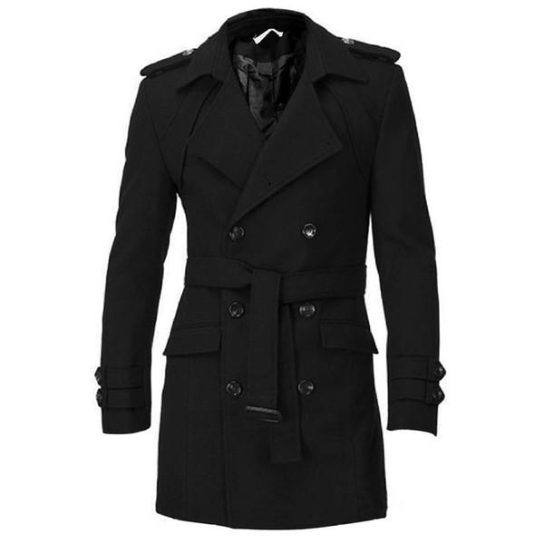 2018 sonbahar ve kış erkek omuz ceket ceket ceket rüzgarlık kemer basit düz renk kruvaze uzun ceket yün yün