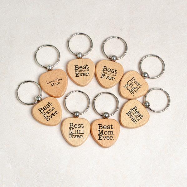 Heart Shape Wood Keychain Letter Love You Best Mom Best Nana Grandma Boyfriend Mimi Ever Keychain Key Rings Wooden Jewelry Drop Shipping