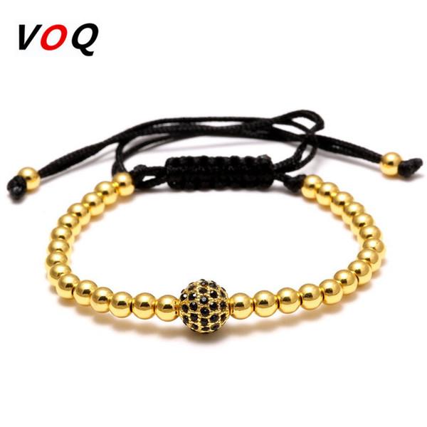Hot Sell Brand Fashion Men/Women Plated Gold Bracelet 4mm Round Bead Pave 6MM Black CZ  Braided Charm Bracelets Jewelry