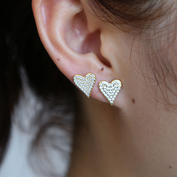 Hot Sale Heart Earing For sweet lovely Girl Crystal Stud Earrings Geometric cz Minimalist Women Jewelry beauty 925 silver earing