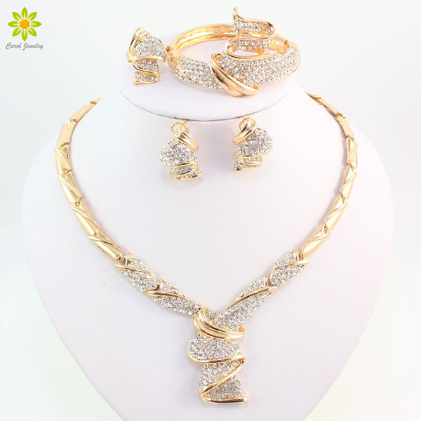 set necklace Wholesale Fashion Gold Color Alloy Rhinestone Wedding Jewelry Sets Necklace Bracelet Ring Earrings For Women Bridal