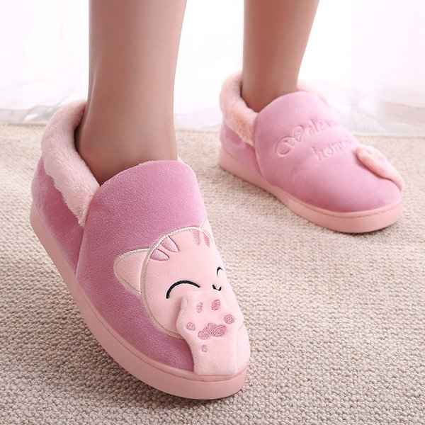 2018 Cat Animal Warm Plush Home Slippers Cute Flat Winter Slippers Female Slip On Soft Indoor Pink Comfort Ladies Shoes