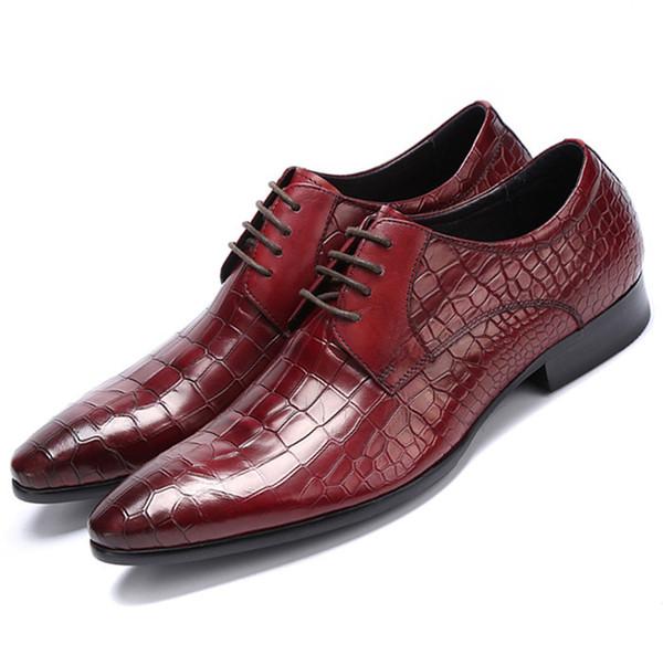 Grandi dimensioni EUR45 Grano coccodrillo Nero / Marrone Tan Oxfords Mens Business Scarpe in vera pelle Scarpe da uomo da uomo