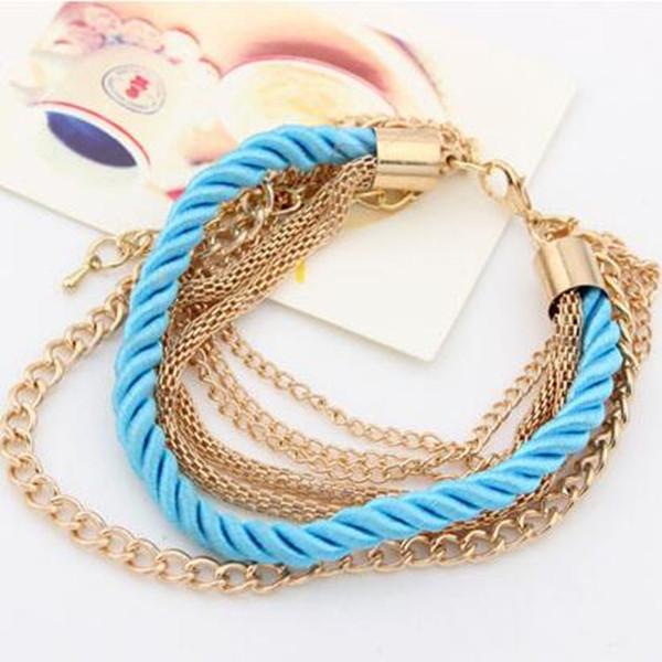 Corde tressée à la main luxueuse et à la mode européenne et américaine, bracelet à chaînes multiples en métal