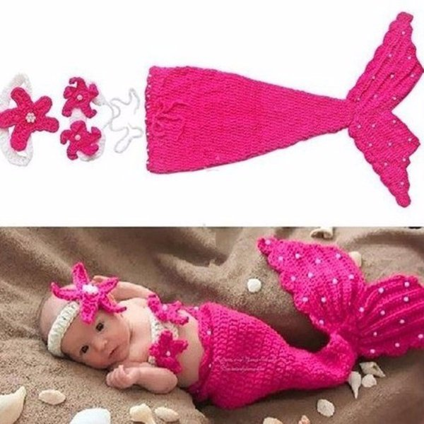 Puseky Baby Hat Mermaid Newborn Photography Props Girls Crochet Knitted Cap Hand-woven Photo Costume Props Hats 0-6M