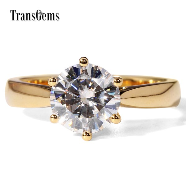 transgems 14k yellow gold 2 diameter 8mm f color moissanite engagement ring for women solitare, Golden;silver