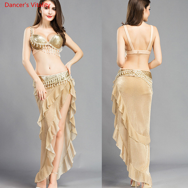 New Belly Dance Suit Girls Belly Dancing Performance Clothes (Bra+Belt+Skirt) 3pcs For Dancer's Stage Wear S,M,L Gold