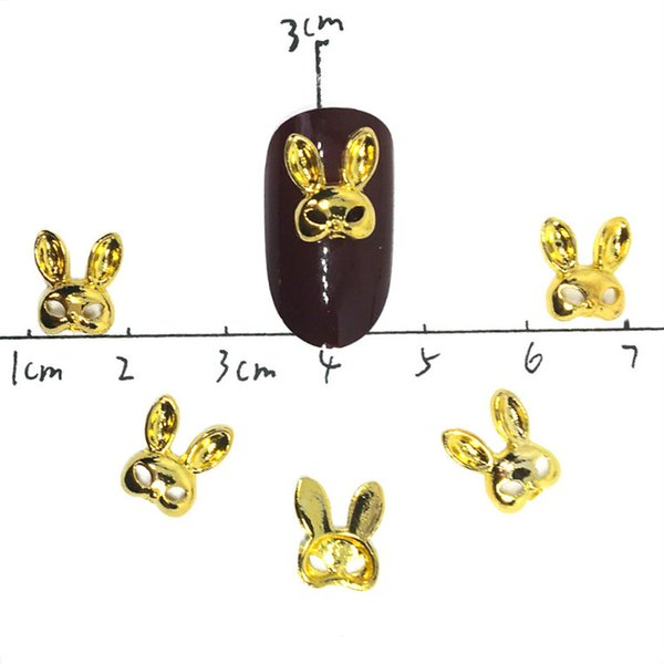 20 Pz Conigli Oro Decorazioni Nail Art 3d Borchie Kawaii Charms Bling Decori In Lega Forniture Nailart Cartoon Manicure Accessori