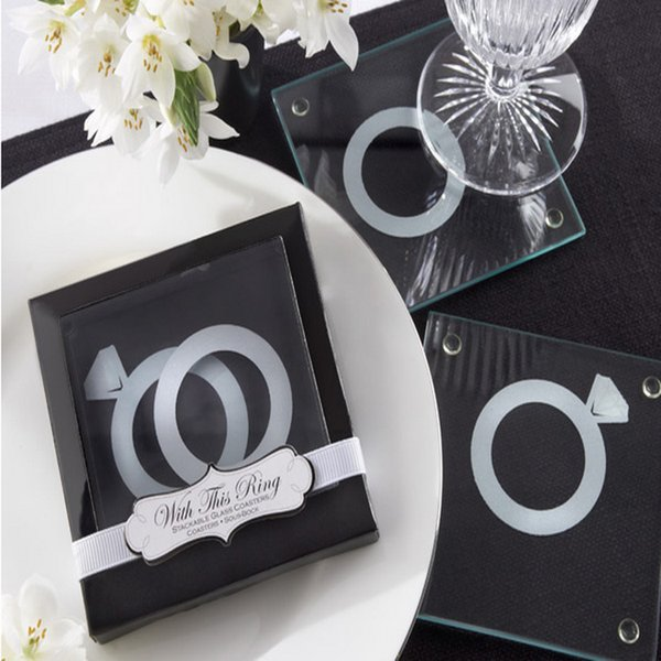 """Free shipping 200pcs =100sets Unique Wedding Favors Gift """"With This Ring"""" Unique Stackable Glass Coaster Favors"""