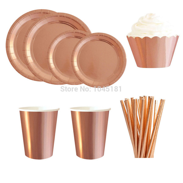 Foil Rose Gold Paper Party Tableware Supplies Dessert Plates Disposable Cups Cocktail Straws Cupcake Wrappers Decoration