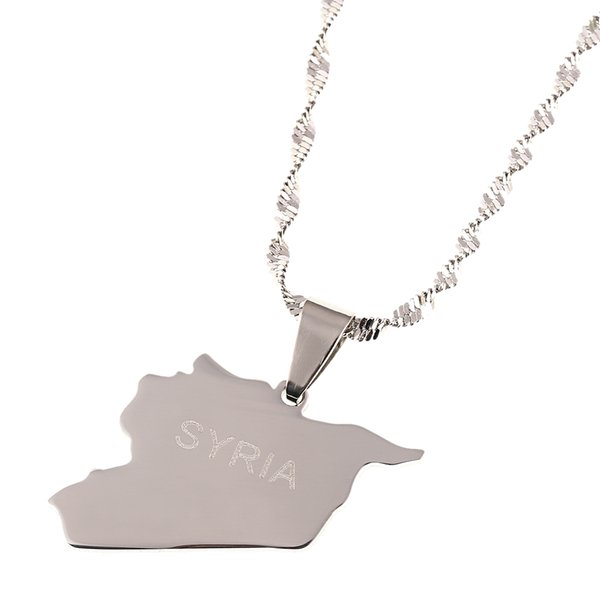 syria map flag gold color charms pendant syrians maps jewellery