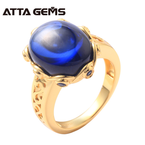 Blue Sapphire Sterling Silver Rings Yellow Gold Plated 6.6 s Created Cabochon Sapphire for Women Wedding Engagement Gifts