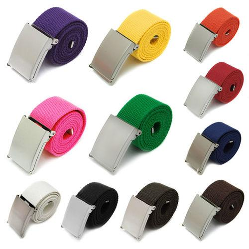 Splendid Candy Colors Men Women Boys Plain Webbing Cotton Canvas Metal Buckle Belt Fashion Accessories Retail/Wholesale