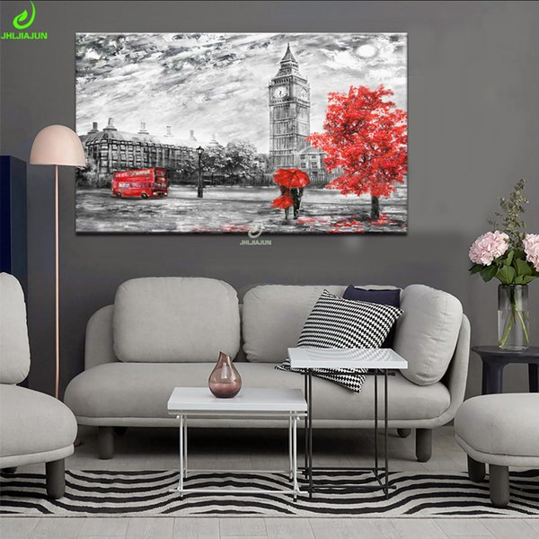 JHLJIAJUN Canvas Painting Classical London Red Tree Nordic Black White Modular Wall Art Print And Poster Living Room Home Decor