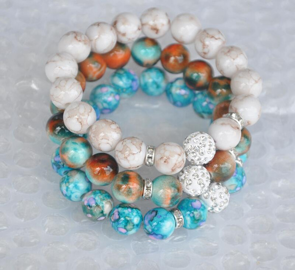 New Women Jewelry 12mm S Disco Ball Stretch Bead Bracelet Acrylic Strand Bead Flex Bracelet for Women Gifts
