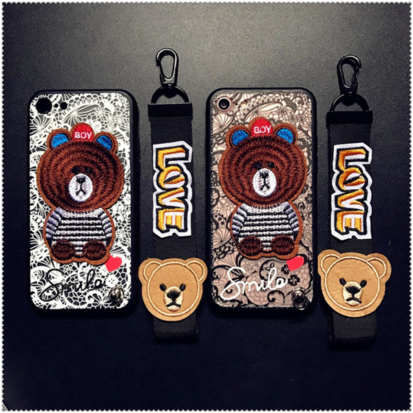Cute Bear Embroidery Case Lace Silicone Case Cover With Strap Lanyard Softe TPU+ pc For iPhone X 5 6 6s 7 8 Plus