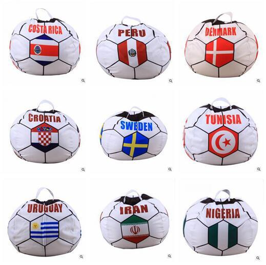 World Cup Storage Bean Bag Football Storage Stuffed Bags Chair Portable Kids Clothes Toy Storage Bags Top Quality Polyester Organizer Tools