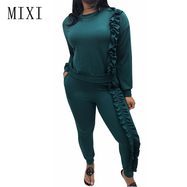 MIXI Winter Casual Rompers Womens Jumpsuit Two Piece Set Long Sleeve Ruffles Bandage Bodycon Jumpsuit Female Party Club Overalls