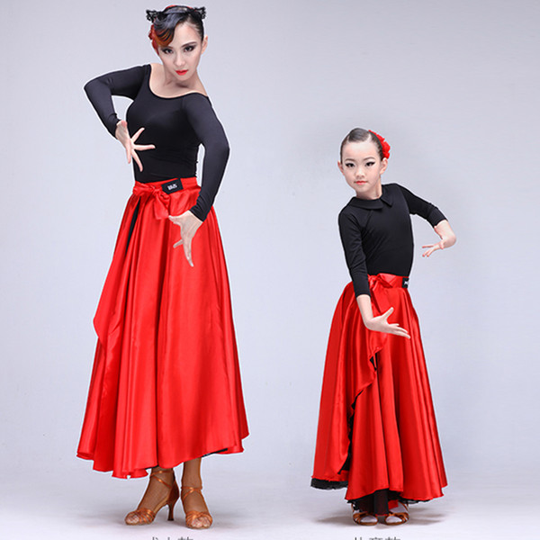 Mother and Daughter Latin Dance Costumes Red Satin Swing Spanish Flamenco Skirt for Teenager Kids Girls Ballroom Clothes
