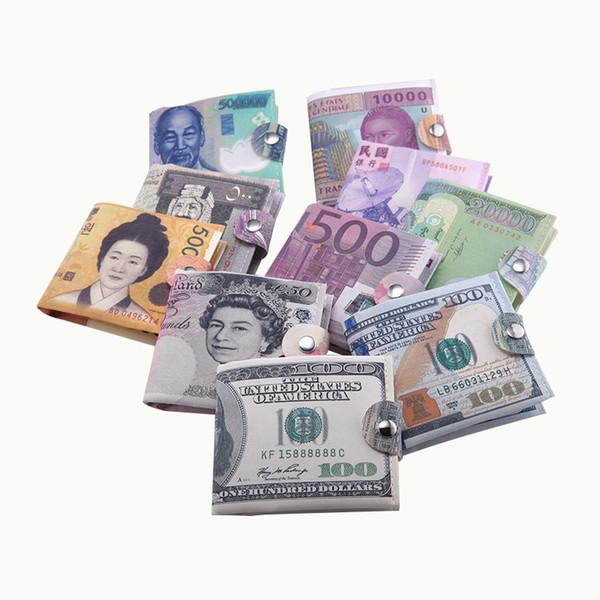 Portafoglio euro 2018 nuova carta fermasoldi uomo donna tela dollaro euro Portafoglio corto mini borsa sottile 2 volte studente cartone animato a buon mercato
