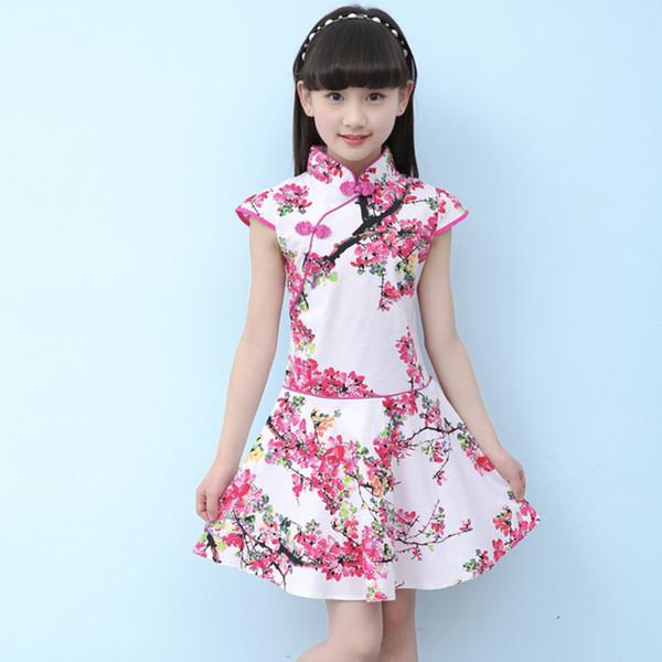 2018 Kinder Cheongsam Kleid Orientalische traditionelle Kleidung Wettbewerb Leistung Kleidung Baumwolle Cheongsam Mädchen Rock Qipao
