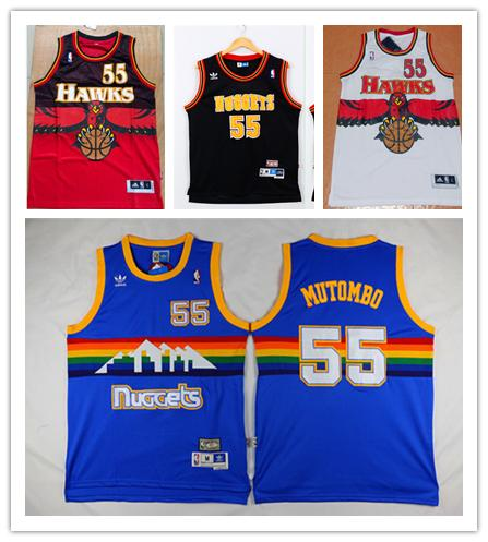 new product 7805a 3d739 2018 Retro Mens 55 Dikembe Mutombo Denver Nuggets Basketball Jerseys  Stitched Hardwood Classic Mesh Dikembe Mutombo Atlanta Hawks Retro Jerseys  From ...