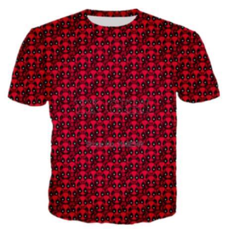 Neue Männer / Frauen Deadpool 3D Graphic Red T-shirts Kreative Lässige Kurzarm T-shirt Hip Hop Quick Dry Tops Sommer Bequeme Tees