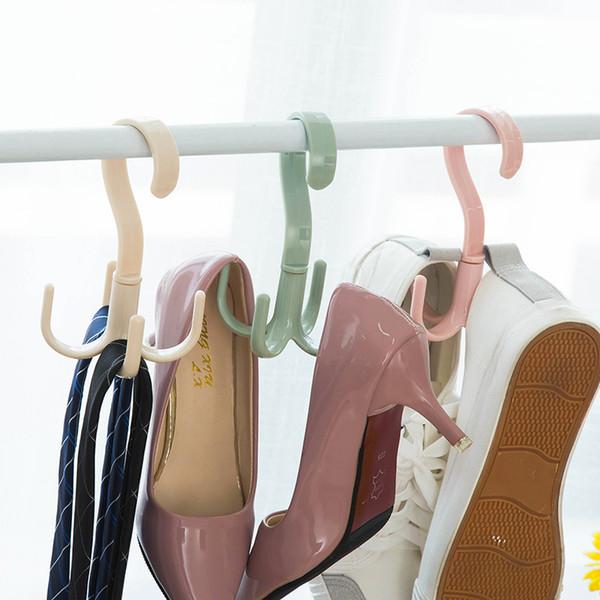 Plástico Rotativo 4 Ganchos Belt Neck Tie Cachecol Titular Rack De Armazenamento Bolsa Sapatos Organizador de Guarda-roupa - Boné de Beisebol Cabide Espaço de Poupança
