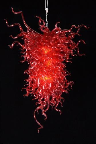 100% Handmade LED Lighting CE UL Certificate AC110V-220V Blown Art Glass Crystal Red Chandelier for Wedding Centerpieces