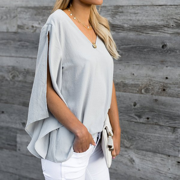 2019 Fashion Bow Tie V Neck Chiffon Shirts Casual OL Long Sleeved Flounced Blouses Summer Loose Tops for Women WS8627U