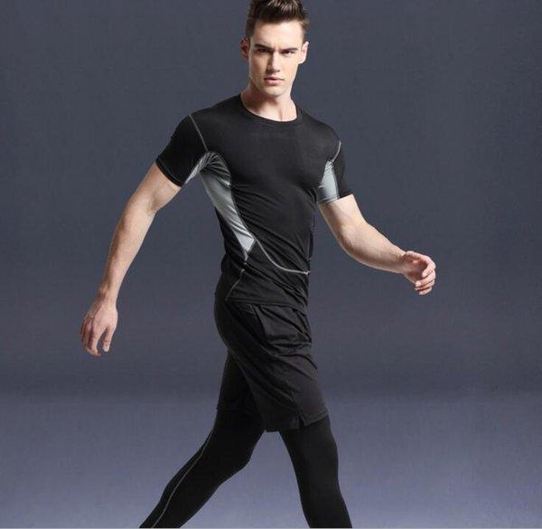 Plus Size 2018 Summer Mens Fitness Shapewear Quick Dry Compression Tracksuit Men Corset Slimming Sweatpants Set Track Suit