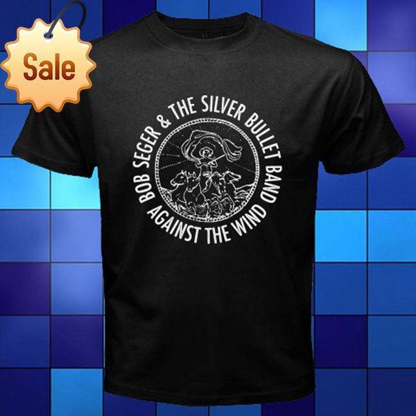 Mode-lustige Oberseiten-Stücke New Bob Seger das silberne Gewehrkugel-Album-Logo-Schwarz-T-Shirt Größe S - 3XL Hipster-O-Ansatz coole Oberseiten
