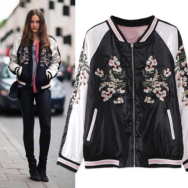 Embroidery flower Europe and America Flower Phoenix Bird Short Jacket Women Contrast Bomber Jacket pink Reversible Coat Western Style