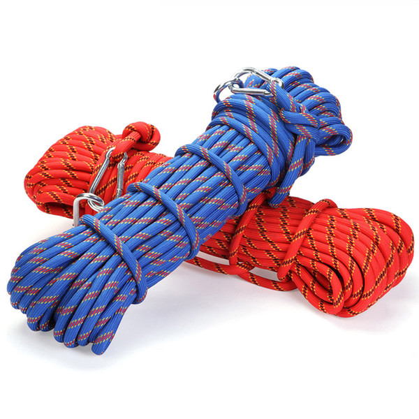 top popular Professional 10M Outdoor Rock Climbing Rope Hiking Accessories 10Mm Diameter 3 Kn High Strength Cord Safety Ropes 2021
