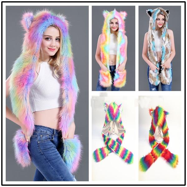 New2018 hot sale Warm cartoon Rainbow pringting Fur Hat Scarf Fluffy Plush Cap Ear Hood Shawl Glove Unisex