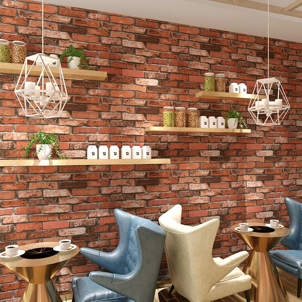 Chinese Style 3D Embossed Vinyl Wallpaper Brick Wall Living Room Restaurant Cafe Backdrop Decorative Wall Paper Wallpaper Roll