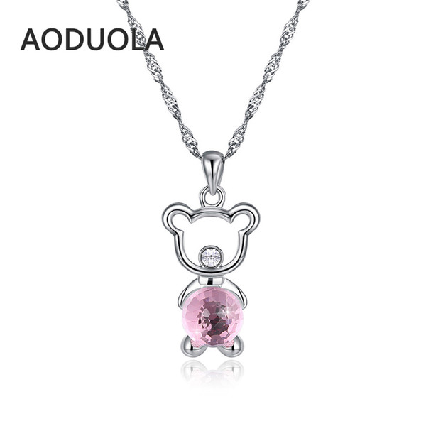 925 sterling silver Star necklace Animal cute Bear Pink crystal Pendant long Chain Necklaces for Women Jewelry gift Fashion NEW