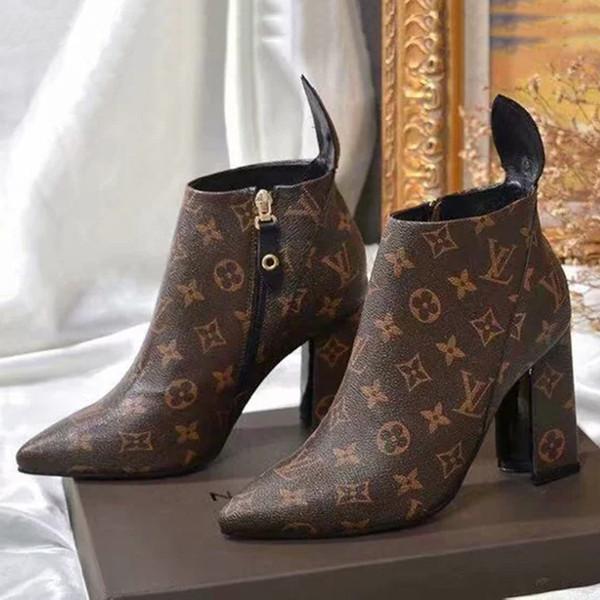 Heißer Verkauf Frauen Designer Paris Luxus Marke Martin Stiefel Aus Echtem Leder Halbe Knöchel Mode Stiefel 2018 Dame Kleid Stiefel Freizeitschuhe Mit box