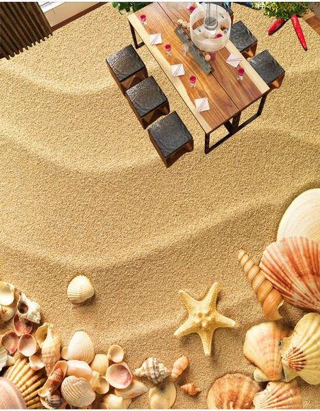 carte da parati decorazioni per la casa Beach Shells Starfish Toilets Bathroom Bedroom 3D Floor adesivi per pavimenti in vinile