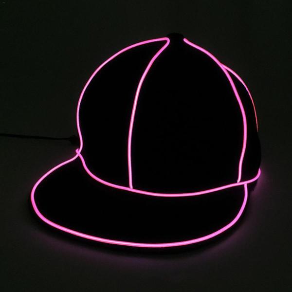 EL Wire Fashion Neon LED Light Glow Rave Costume Party Luminous Cap Fluorescent Bar Party Hats J3 EL Flash Cap Luminous Cap