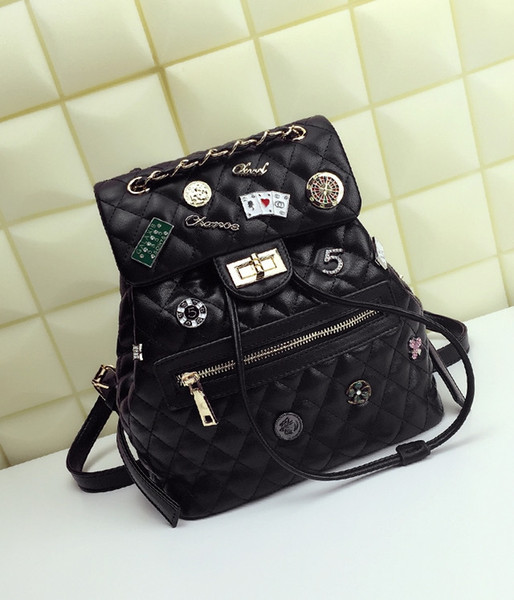 Women's bag, fashion, top grade new product, leisure soft leather lady backpack, satchel, rhombus decorative chain bag.